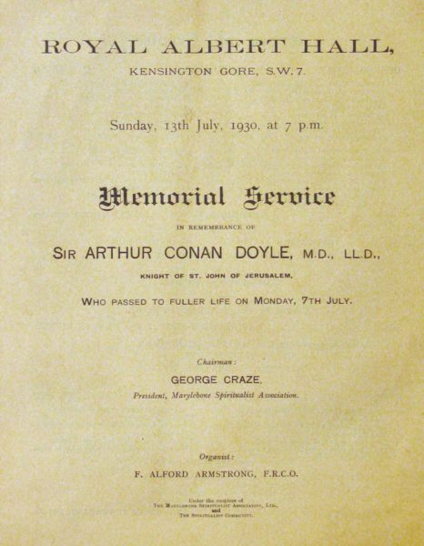 A memorial service programme, cover with printed text.