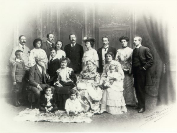 Black and white photograph of a group of people