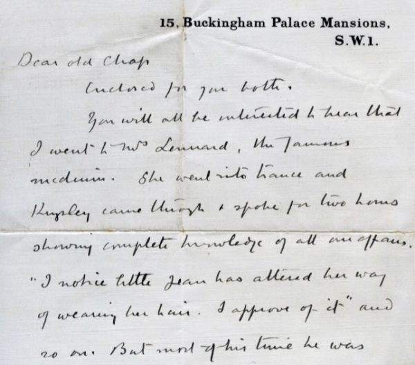 A hand written letter with address printed at the top
