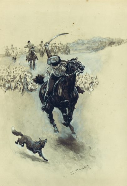 Illustration of a soldier waving a sword on a horse