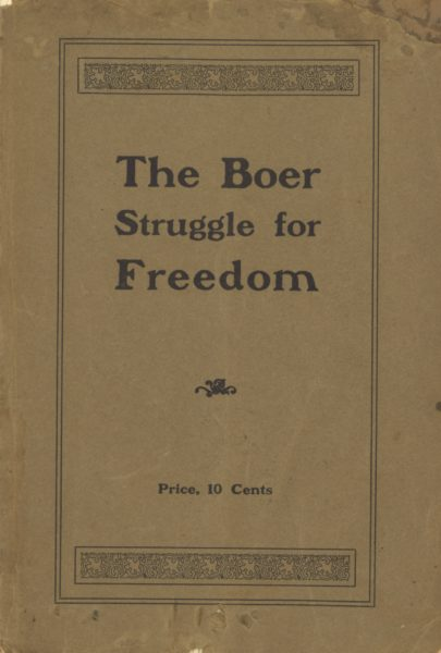 Cover of a pamphlet with 'The Boer Struggle for Freedom' printed on