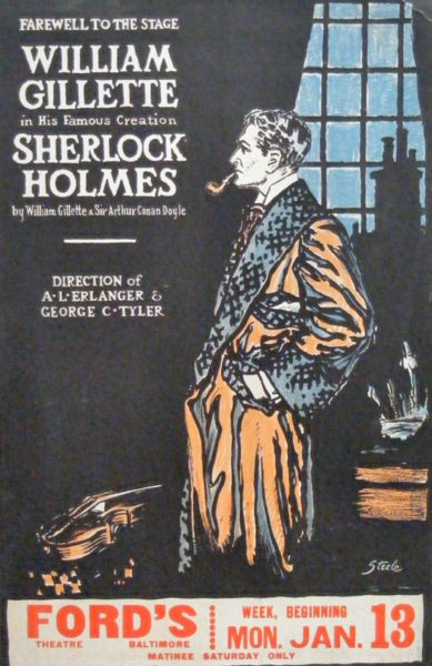 Poster with text and image of Sherlock Holmes