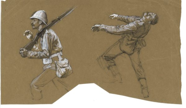Pencil and chalk sketches of soldiers on a piece of brown paper