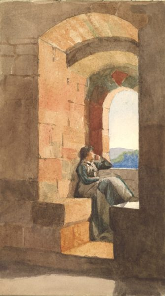Illustration of a woman sitting looking out of a window