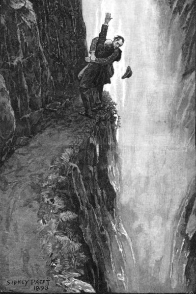 An illustration by Sidney Paget from the short story The Final Problem. The image depicts Sherlock Holmes and Professor Moriarty just before the rivals plunge into the Reichenbach Falls